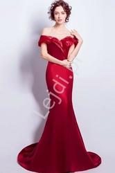Czerwona suknia wieczorowa, camile z falbanami 010