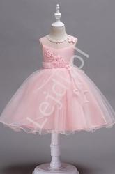 Jasno różowa krótka sukienka dla dziewczynki z kwiatkami 3d  700