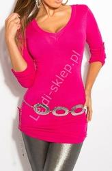 Różowa bluzka z regulownymi rękawkami i tiulową wstawka na plecach | sweter 8011