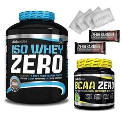 Biotech usa iso whey zero - 2270g + bcaa zero - 360g + 2x baton zero - 50g + 5x próbka zestaw