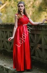 Satynowa suknia wieczorowa na studniówkę, wesele, dla druhny, ciemne wino elza
