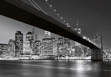 Nowy Jork - Brooklyn Bridge BW - fototapeta