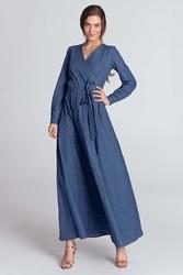 Jeansowa  kopertowa sukienka maxi z paskiem