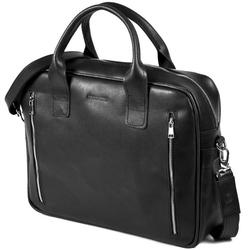 Skórzana torba męska na laptopa brodrene r02 czarna - czarny