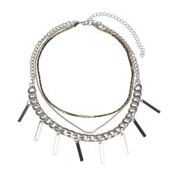 Naszyjnik łańcuszki srebrny - srebrny