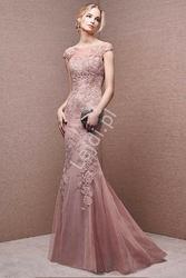 Wieczorowa luksusowa suknia z ręzcznie wszywaną gipiurą anna 001