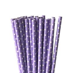 Słomki papierowe fioletowe w białe kropki