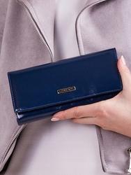 Skórzany portfel damski granatowy lorenti 64003 - granatowy