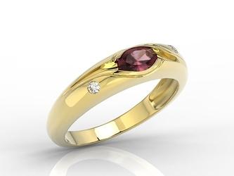 Pierścionek z żółtego złota z rubinem i diamentami 0,03 ct wzór jp-57z