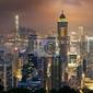 Fototapeta nocny widok na hongkong i kowloon