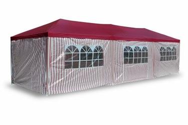Pawilon handlowy 3x9 m, biało czerwony namiot ogrodowy ze ściankami