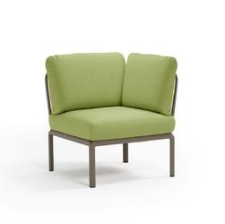 Fotel komodo narożny brązowy jasny zielony - zielony jasny