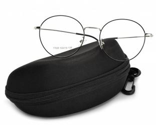 Okrągłe okulary lenonki 17020b srebrno-czarne przeznaczone pod korekcję