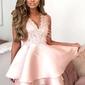 Różowa sukienka wieczorowa z falbanami na spódnicy 044