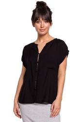 Czarna elegancka bluzka zapinana na guziki