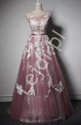 Oryginalna suknia wieczorowa tiulowa, w kolorze brudnego różu z białą koronką - anastazja