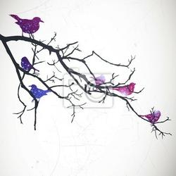 Naklejka vector ilustracja oddział z ptaków