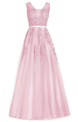 Sukienka na wesele jasnoróżowa z tiulu  dla druhen, na wesele