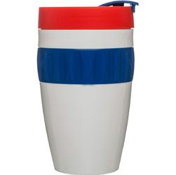 Kubek termiczny z silikonową opaską To Go Cafe Sagaform biało-niebiesko-czerwony SF-5017157