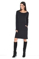 Czarna nowoczesna dzianinowa sukienka z kieszenią
