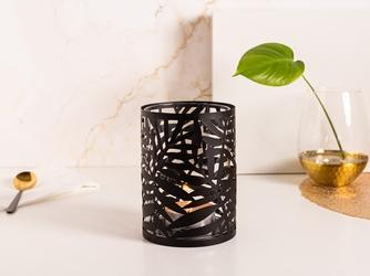 Świecznik szklany  lampion w metalowej osłonce altom design liść palmy czarny