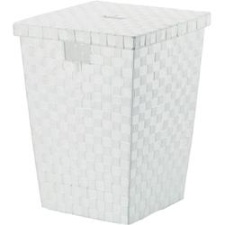 Kosz biały na pranie z pokrywą, plecionka alvaro kela ke-23071