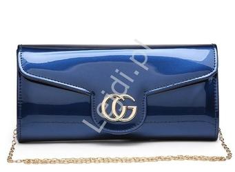 Niebieska metaliczna torebka lakierowana z drobinkami 926