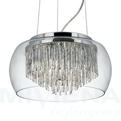 Curva lampa wisząca 4 metalszkło kryształowe