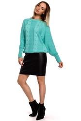 Klasyczny sweter z okrągłym dekoltem seledynowy