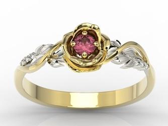 Pierścionek złoty w kształcie róży z rubinem i cyrkoniami lp-7715zb-crub