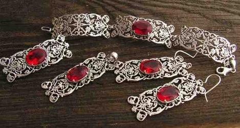 Sabotini - srebrny komplet z rubinem
