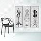 Vintage mannequin - trzy modne obrazy na płótnie , wymiary - 150cm x 50cm 3 sztuki