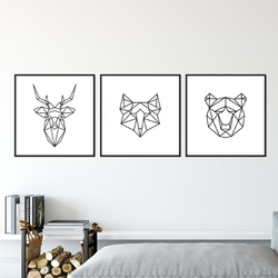 Zestaw trzech plakatów - geometric wilderness , wymiary - 50cm x 50cm 3 sztuki, kolor ramki - czarny, kolor ramki - biały