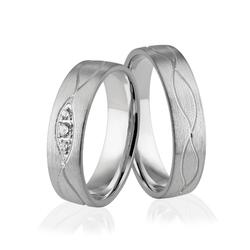 Obrączki ślubne z białego złota niklowego z brylantami - Au-925