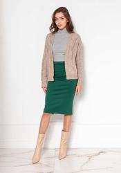 Krótki niezapinany sweter z warkoczami - beżowy