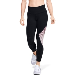 Legginsy damskie under armour rush embossed shine graphic crop - czarny