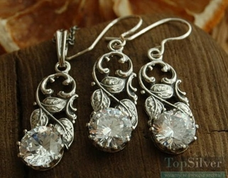 Ercoli - srebrny komplet z kryształem