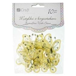Ozdobny motyl z kryształkiem 10 szt - żółty - ŻÓŁ