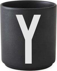 Kubek porcelanowy aj czarny litera y