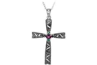 Duży srebrny krzyż markazytami szmaragdami rubinami szafirami