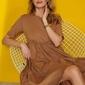 Bawełniana sukienka z falbankami - cappuccino