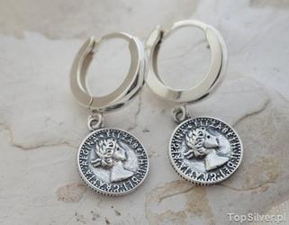 Londyn - srebrne kolczyki moneta na angielskim zap