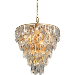 Lampa wisząca z dużych kryształów ułożonych kaskadowo, złota vitaluce ve5263-820+1