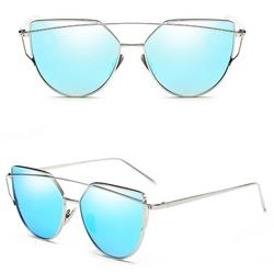 Okulary lustrzanki glam kocie oko cat eye laguna i - niebieski