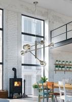 Lampa wisząca na stalowej lince 6 żarówek w szklanych kloszach migo candellux 36-72528