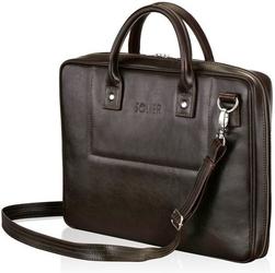 Skórzana torba męska na laptopa ciemnobrązowa solier - brązowy