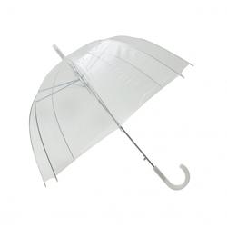 Długi parasol przezroczysty kopuła basic, biała bordiura