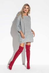 Szara oversizowa tunika swetrowa z kieszeniami