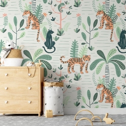 Tapeta dla dzieci - wildcats jungle , rodzaj - tapeta flizelinowa laminowana