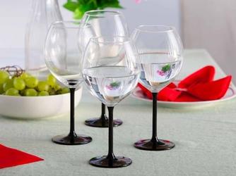 Kieliszki do wina altom design onyx z czarną nóżką 700 ml, komplet 4 szt.